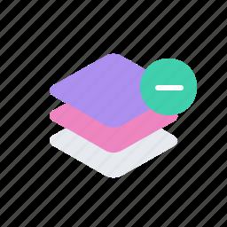 delete, layer, layers, minus icon