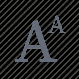 alphabet, font, language, letters, size, text icon