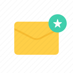 envelope, favorite, letter, mail, marked icon