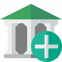 add, bank, banking, building, business, finance, money icon