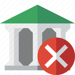 bank, banking, building, business, cancel, finance, money icon