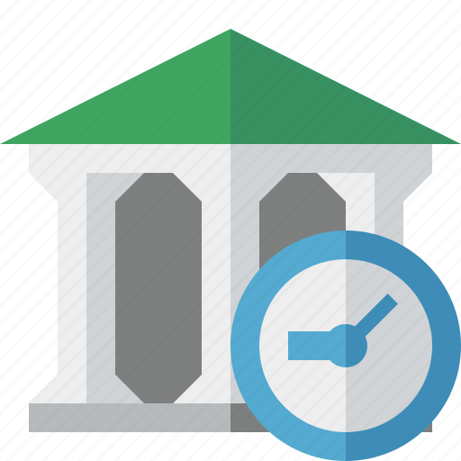 bank, banking, building, business, clock, finance, money icon