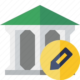 bank, banking, building, business, edit, finance, money icon