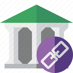 bank, banking, building, business, finance, link, money icon