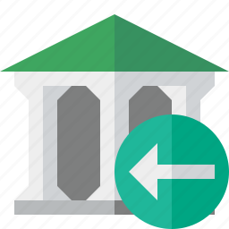 bank, banking, building, business, finance, money, previous icon