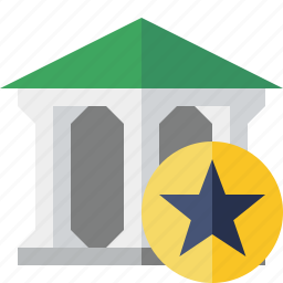 bank, banking, building, business, finance, money, star icon