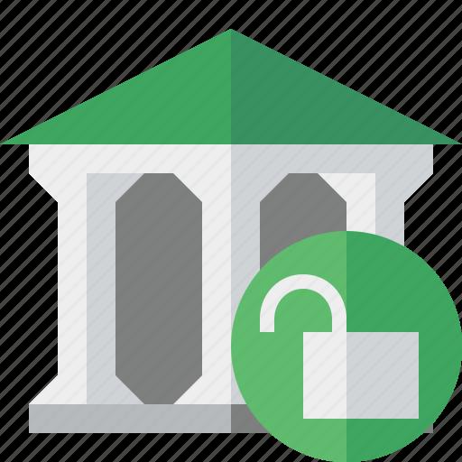 bank, banking, building, business, finance, money, unlock icon