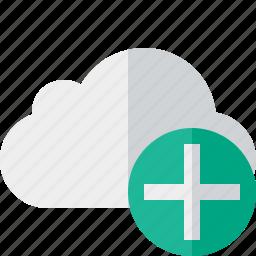add, cloud, network, storage, weather icon
