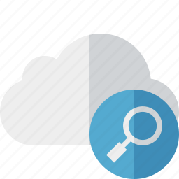 cloud, network, search, storage, weather icon