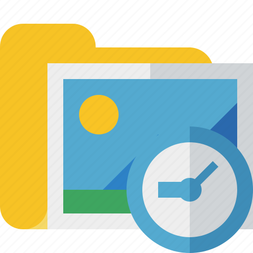 clock, folder, gallery, images, media, pictures icon