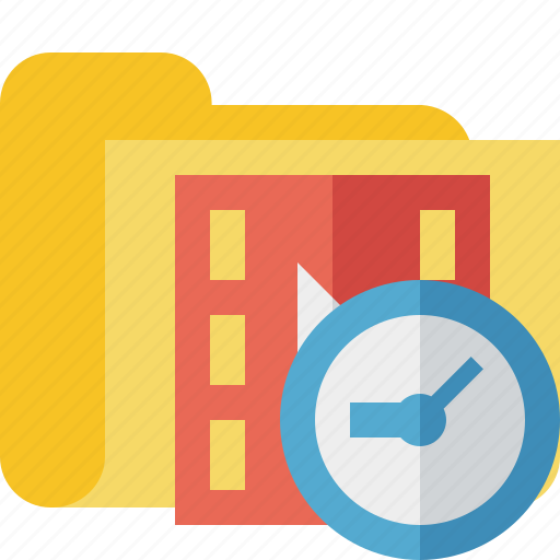 clock, film, folder, media, movie, video icon