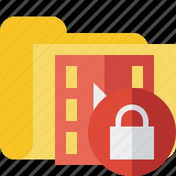 film, folder, lock, media, movie, video icon