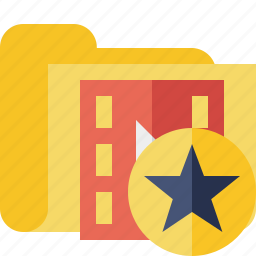 film, folder, media, movie, star, video icon