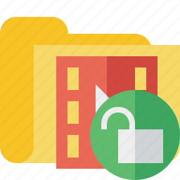 film, folder, media, movie, unlock, video icon