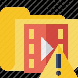 film, folder, media, movie, video, warning icon