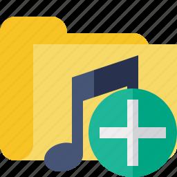 add, audio, folder, media, music, songs icon