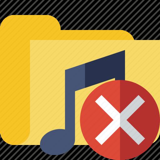 audio, cancel, folder, media, music, songs icon
