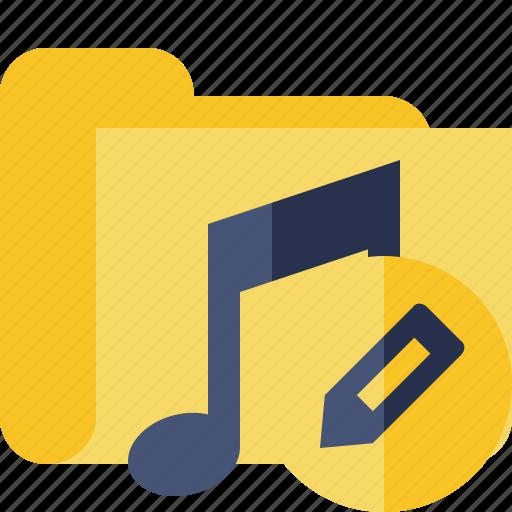 audio, edit, folder, media, music, songs icon