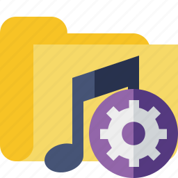 audio, folder, media, music, settings, songs icon