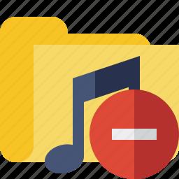 audio, folder, media, music, songs, stop icon