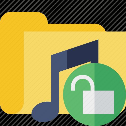 audio, folder, media, music, songs, unlock icon