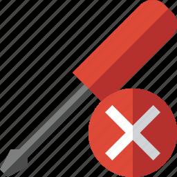 cancel, repair, screwdriver, tool, tools icon