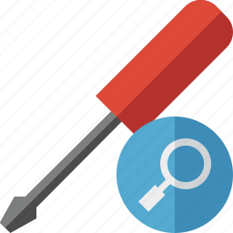 repair, screwdriver, search, tool, tools icon