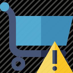 business, buy, ecommerce, shopping, warning icon