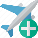 add, airplane, flight, plane, transport, travel icon