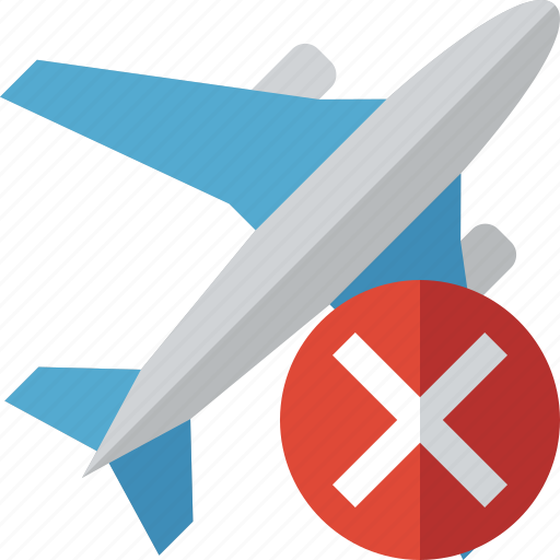 airplane, cancel, flight, plane, transport, travel icon
