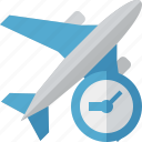 airplane, clock, flight, plane, transport, travel icon