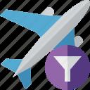 airplane, filter, flight, plane, transport, travel icon