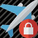 airplane, flight, lock, plane, transport, travel