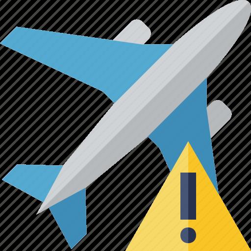 airplane, flight, plane, transport, travel, warning icon