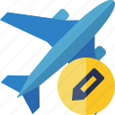 airplane, edit, flight, plane, transport, travel icon