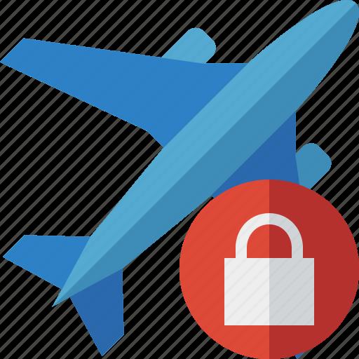 airplane, flight, lock, plane, transport, travel icon