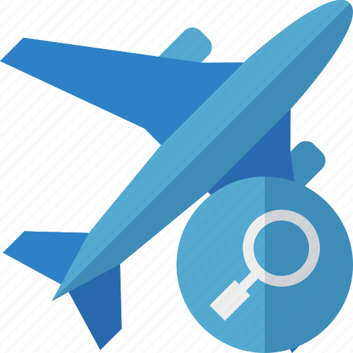airplane, flight, plane, search, transport, travel icon