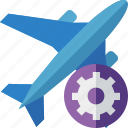 airplane, flight, plane, settings, transport, travel icon