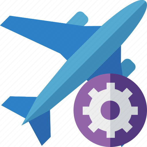 airplane, flight, plane, settings, transport, travel icon