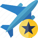 airplane, flight, plane, star, transport, travel icon