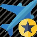 airplane, flight, plane, star, transport, travel icon