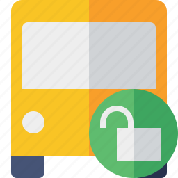 bus, public, transport, transportation, travel, unlock, vehicle icon