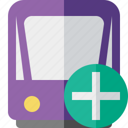 add, public, train, tram, tramway, transport icon
