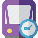 clock, public, train, tram, tramway, transport icon