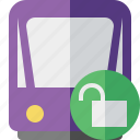 public, train, tram, tramway, transport, unlock icon