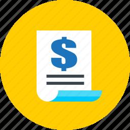 bill, business, contract, finance, invoice icon