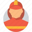 avatar, character profession, firefighter character, flat design profession, profile, user icon