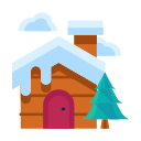 cabin, cloud, forest, home, house, tree, winter