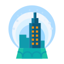 city, decorate, decoration, snow, snowglobe, winter icon