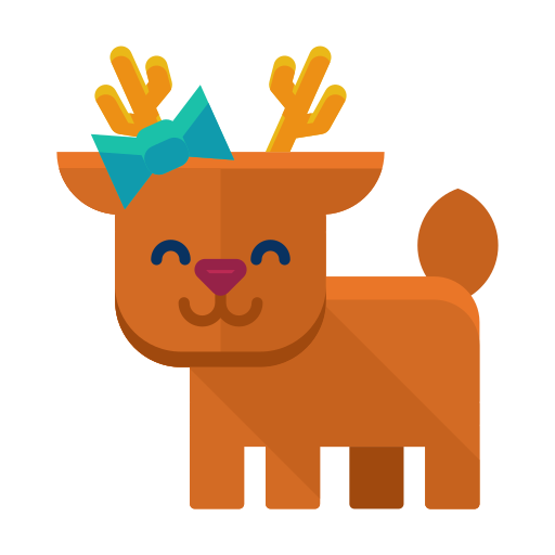 animal, deer, forest, reindeer, smile, winter icon